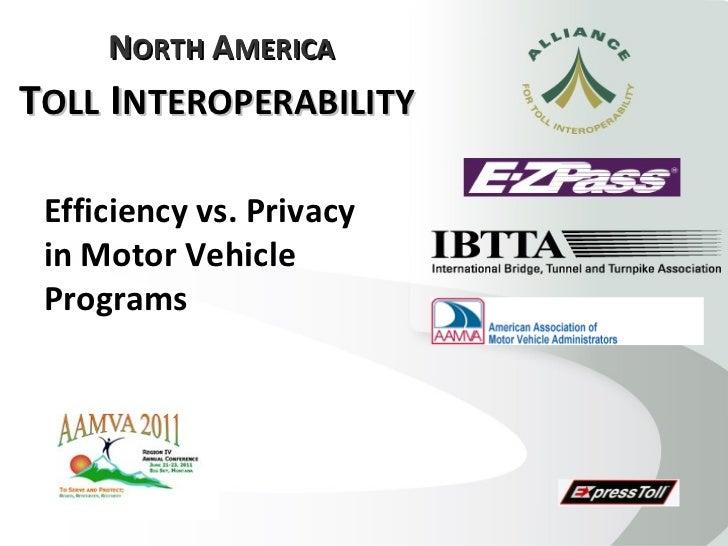 North america toll interoperability ati aamva e z p ass ibtta
