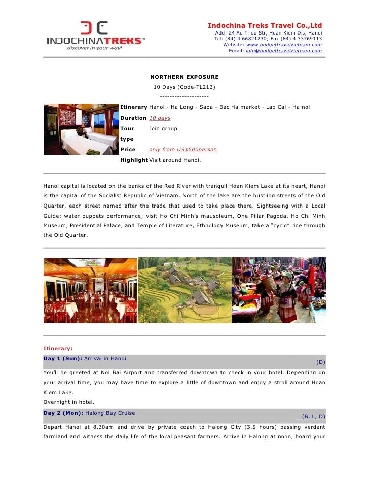 Indochina Treks Travel Co.,Ltd                                                                  Add: 24 Au Trieu Str, Hoan...