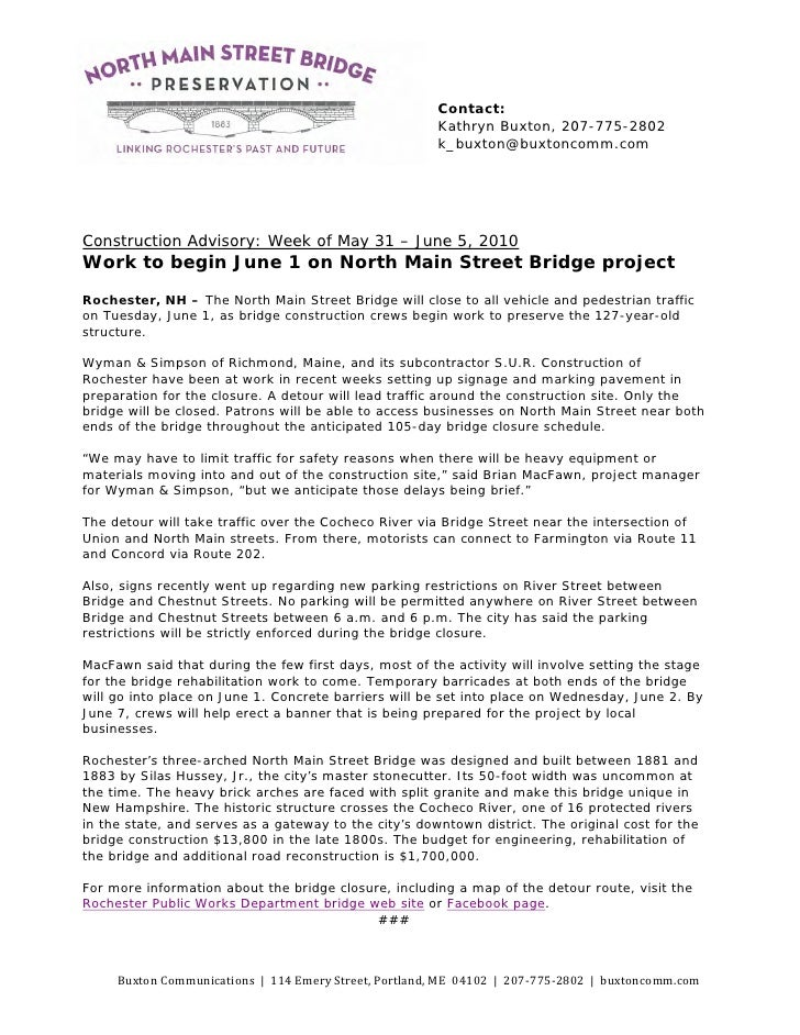 Press Release: North Main Stret Bridge project