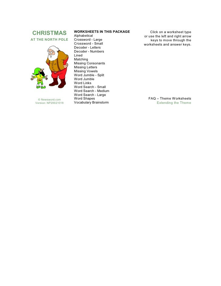 North Pole Worksheets