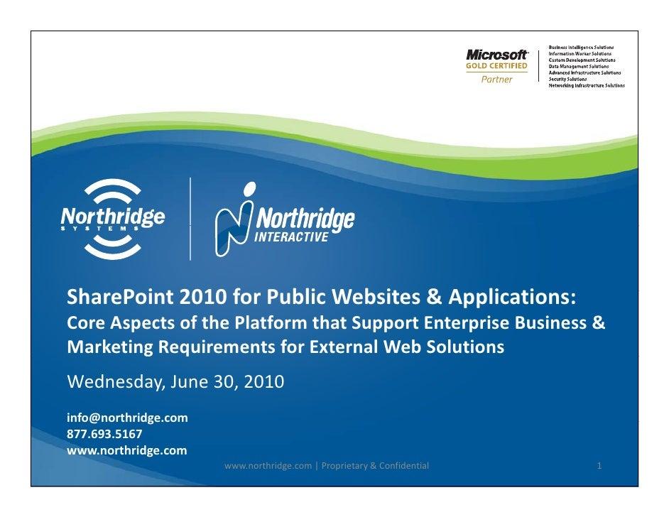 Northridge Webinar Share Point 2010 Public Web