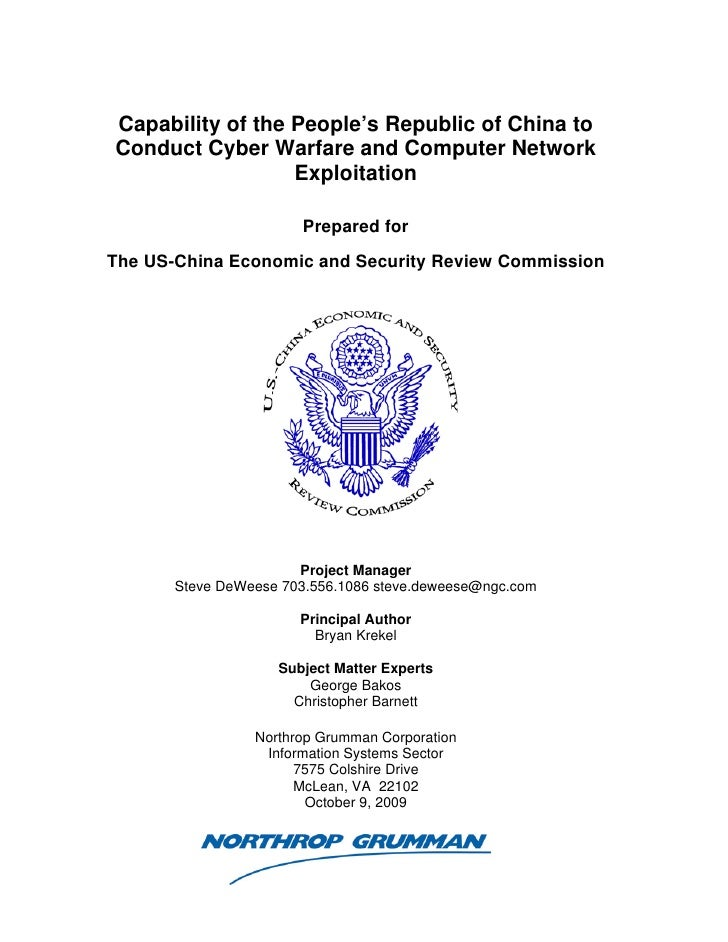 Northrop Grumman Prc Cyber Paper Final Approved Report 16 Oct2009