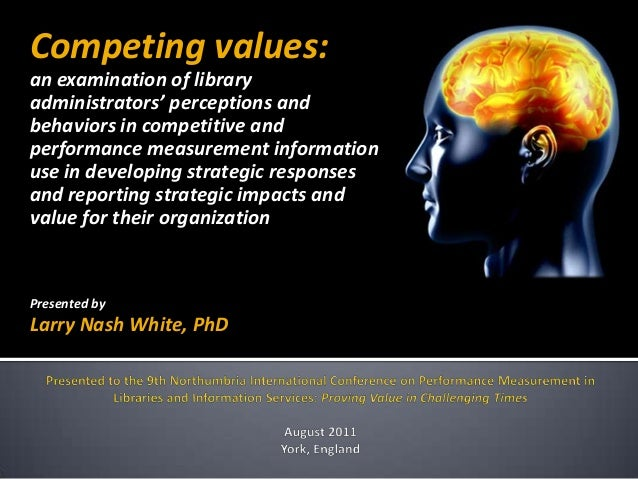 Competing values:an examination of libraryadministrators' perceptions andbehaviors in competitive andperformance measureme...