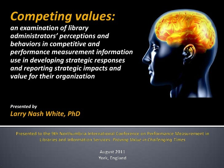Competing values: an examination of library administrators' perceptions and behaviors in competitive and performance measurement information use in developing strategic responses and reporting strategic impacts and value for their organization