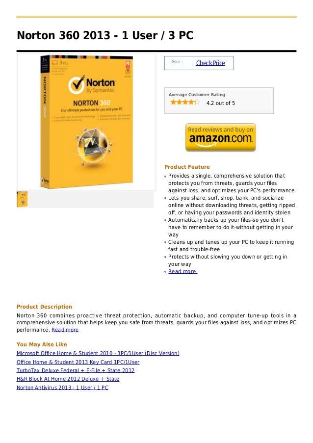 Norton 360 2013   1 user   3 pc