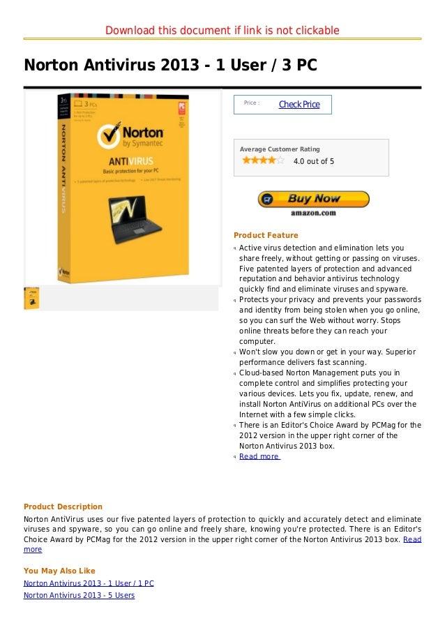 Norton antivirus 2013   1 user   3 pc