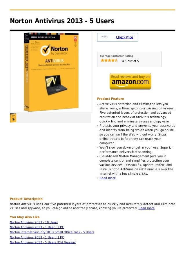 Norton antivirus 2013   5 users