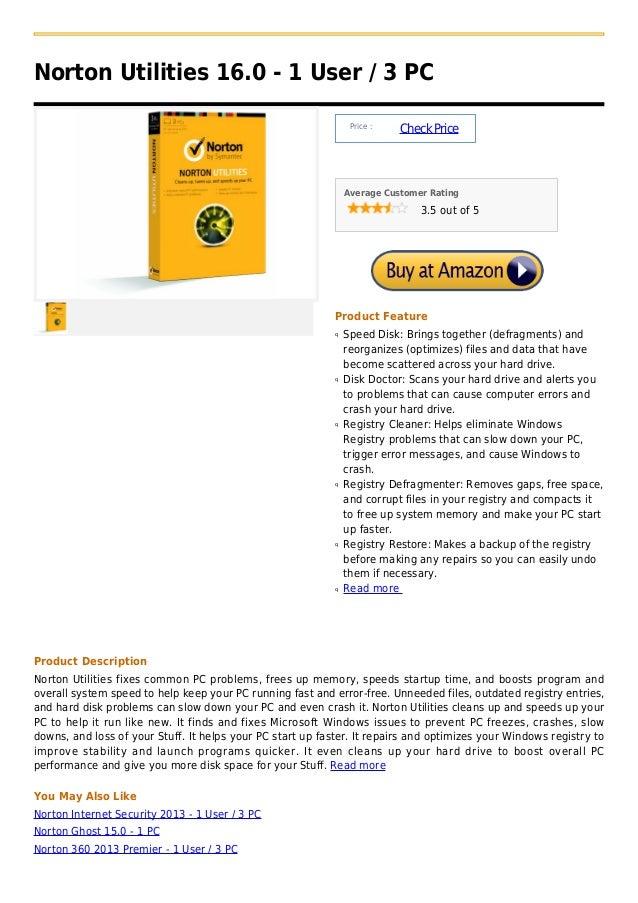Norton utilities 16.0   1 user    3 pc