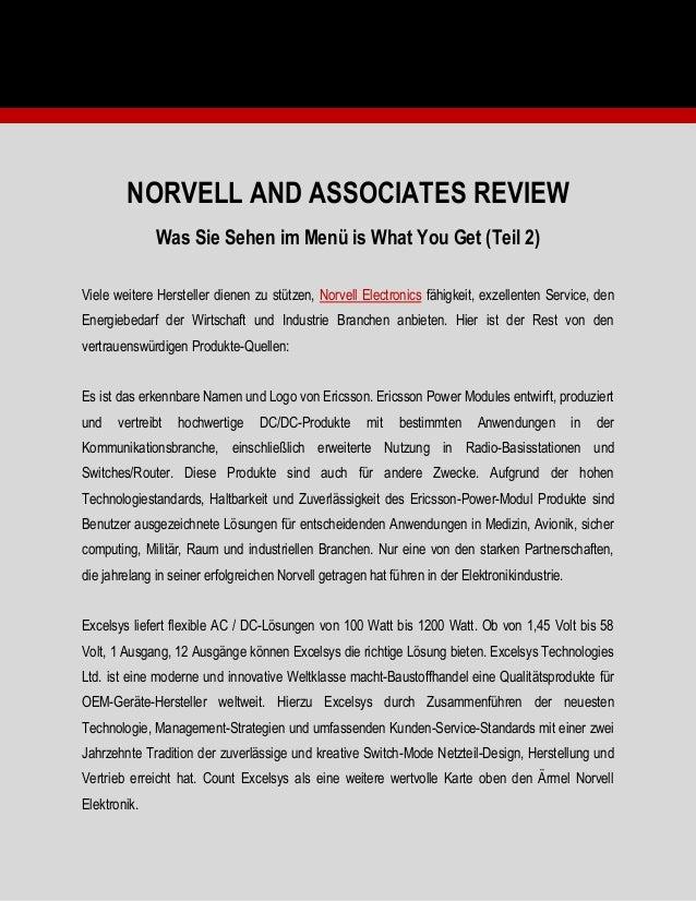 NORVELL AND ASSOCIATES REVIEW Was Sie Sehen im Menü is What You Get (Teil 2) Viele weitere Hersteller dienen zu stützen, N...