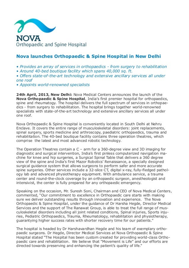 Nova launches Orthopaedic & Spine Hospital in New Delhi • Provides an array of services in orthopaedics - from surgery to ...