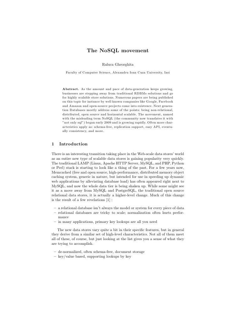 The NoSQL Movement