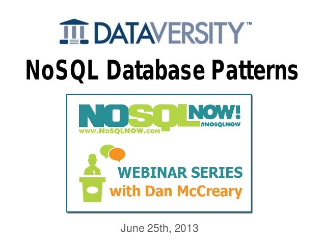 NoSQL Now! NoSQL Architecture Patterns