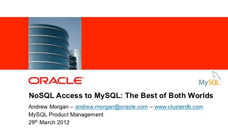 NoSQL Access to MySQL: The Best of Both Worlds           Andrew Morgan – andrew.morgan@oracle.com – www.clusterdb.com     ...