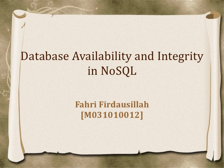 Nosql availability & integrity