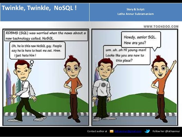 Twinkle, Twinkle, NoSQL ! Story & Script: Latha Annur Subramaniam Contact author at lathaannur@gmail.com Follow her @latha...
