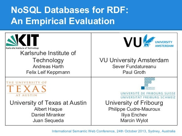 NoSQL Databases for RDF: An Empirical Evaluation  Karlsruhe Institute of Technology  VU University Amsterdam  Andreas Hart...