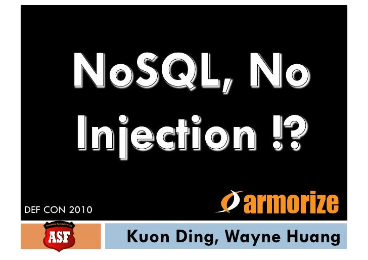 NoSQL, no SQL injections?