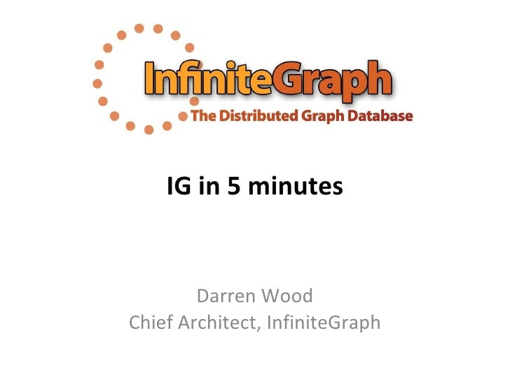 IG in 5 minutes Darren Wood Chief Architect, InfiniteGraph