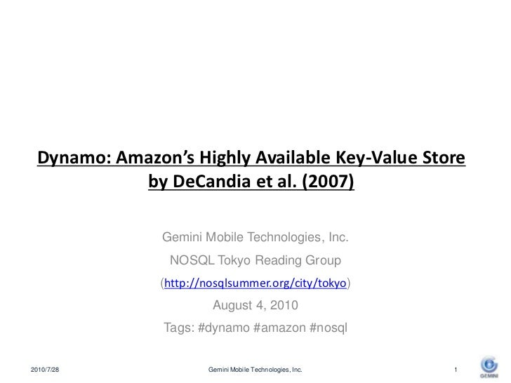 "Summary of ""Amazon's Dynamo"" for the 2nd nosql summer reading in Tokyo"