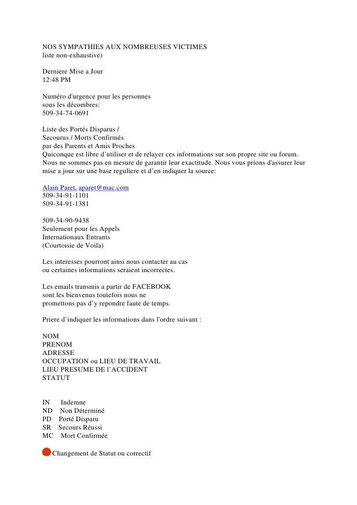 NOS SYMPATHIES AUX NOMBREUSES VICTIMES liste non-exhaustive)  Derniere Mise a Jour 12:48 PM  Numéro d'urgence pour les per...
