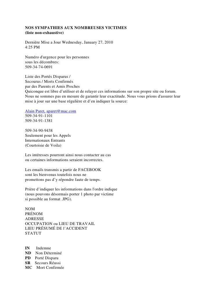 NOS SYMPATHIES AUX NOMBREUSES VICTIMES (liste non-exhaustive)  Dernière Mise a Jour Wednesday, January 27, 2010 4:25 PM  N...