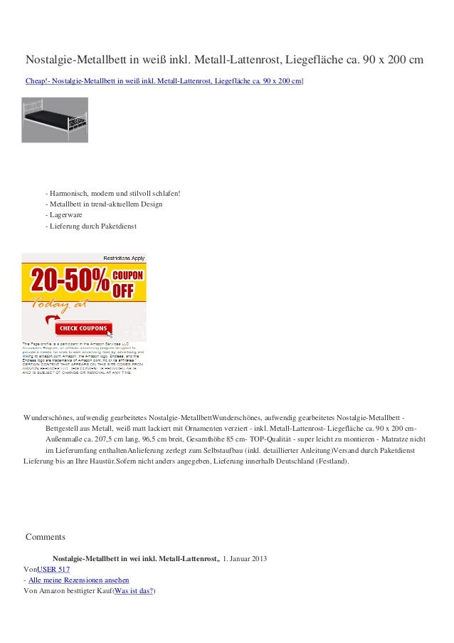 Nostalgie-Metallbett in weiß inkl. Metall-Lattenrost, Liegefläche ca. 90 x 200 cmCheap!- Nostalgie-Metallbett in weiß inkl...