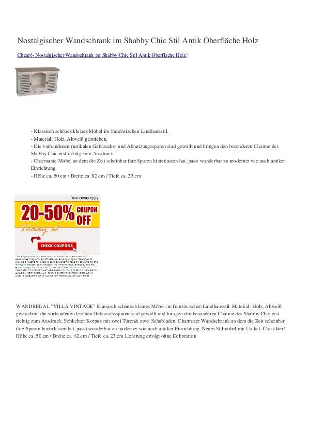 Nostalgischer Wandschrank im Shabby Chic Stil Antik Oberfläche HolzCheap!- Nostalgischer Wandschrank im Shabby Chic Stil A...