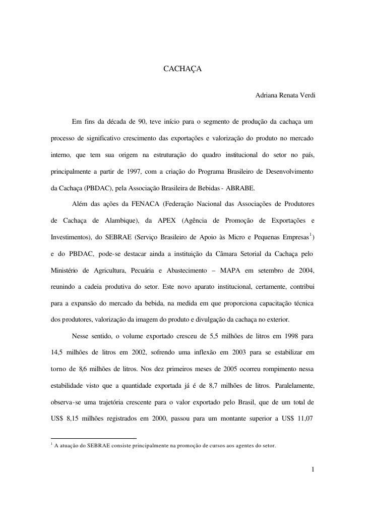 CACHAÇA                                                                                  Adriana Renata Verdi          Em ...