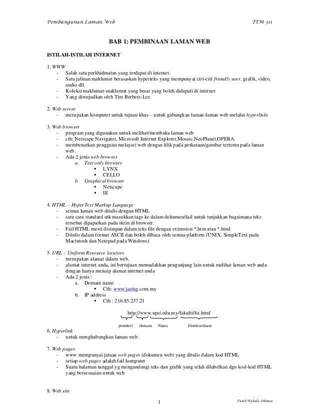 Nota Pembangunan Laman Web