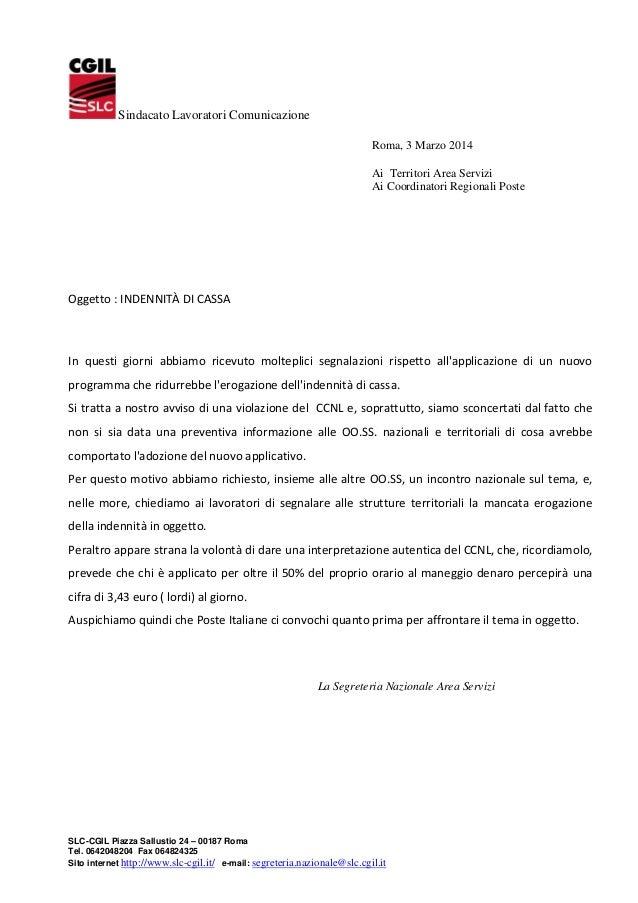 Sindacato Lavoratori Comunicazione Roma, 3 Marzo 2014 Ai Territori Area Servizi Ai Coordinatori Regionali Poste  Oggetto :...