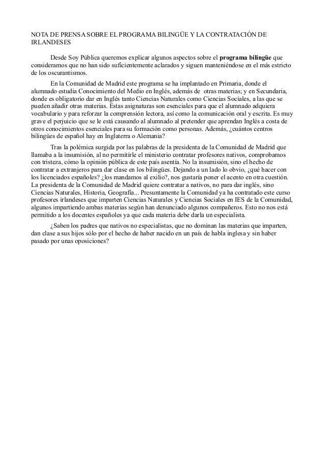 Nota de prensa bilingüismo