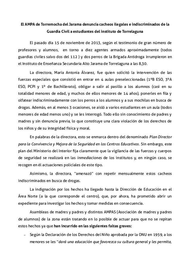 El AMPA de Torremocha del Jarama denuncia cacheos ilegales e indiscriminados de la Guardia Civil a estudiantes del institu...