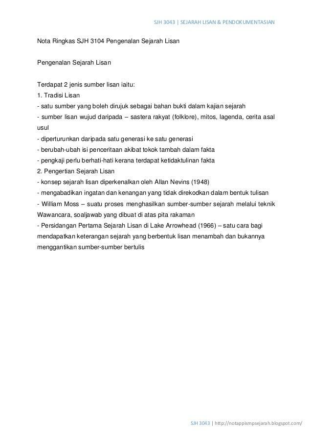 SJH 3043 | SEJARAH LISAN & PENDOKUMENTASIAN SJH 3043 | http://notappismpsejarah.blogspot.com/ Nota Ringkas SJH 3104 Pengen...
