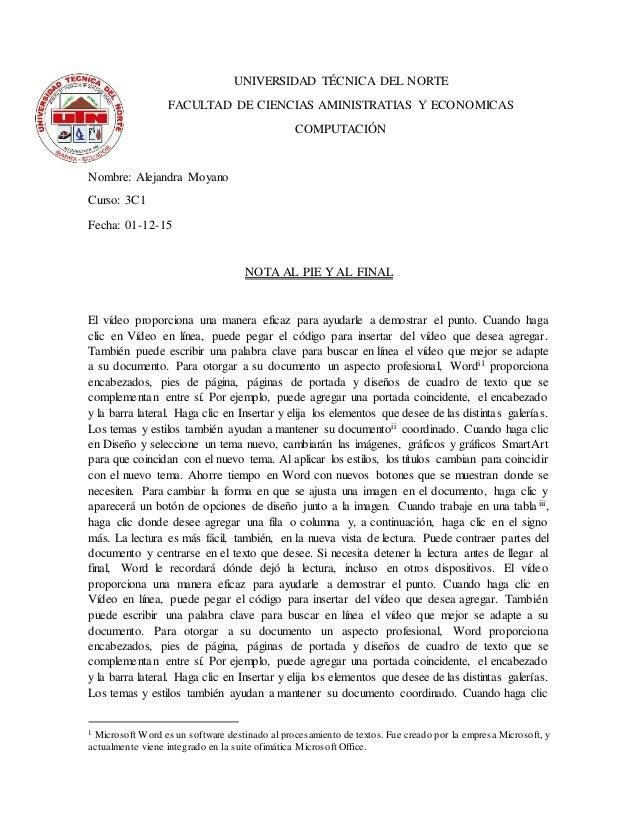 UNIVERSIDAD TÉCNICA DEL NORTE FACULTAD DE CIENCIAS AMINISTRATIAS Y ECONOMICAS COMPUTACIÓN Nombre: Alejandra Moyano Curso: ...