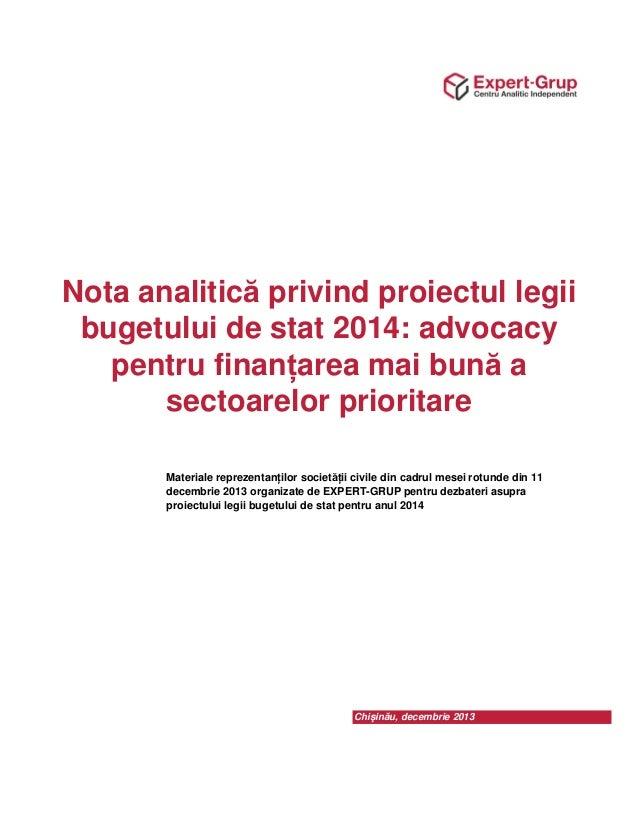 Notă analitică: Promovăm o finanțare mai bună a sectoarelor prioritare în 2014