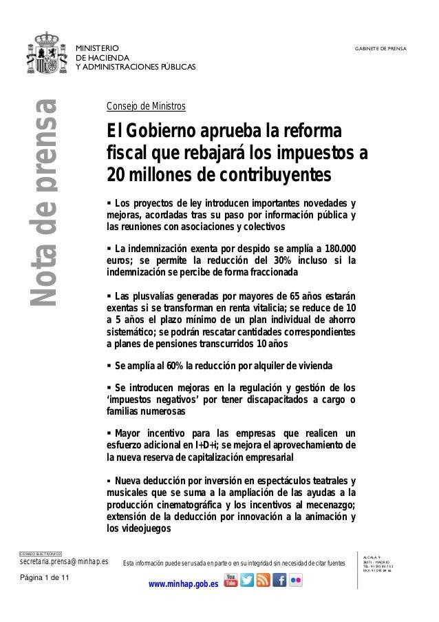 MINISTERIO DE HACIENDA Y ADMINISTRACIONES PÚBLICAS GABINETE DE PRENSA CORREO ELECTRÓNICO secretaria.prensa@minhap.es Esta ...