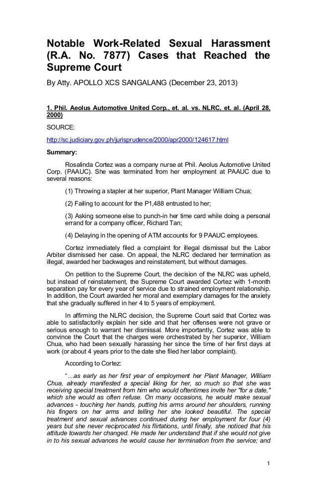Notable Work-Related Sexual Harassment (R.A. No. 7877) Cases that Reached the Supreme Court By Atty. APOLLO XCS SANGALANG ...