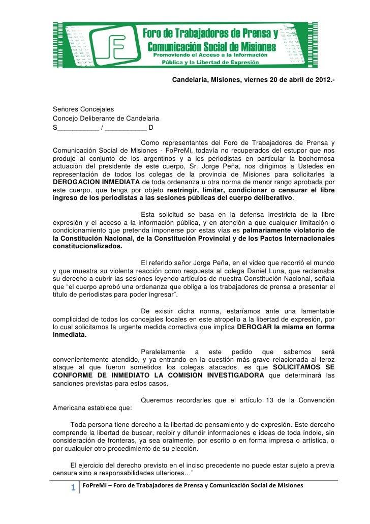 Candelaria, Misiones, viernes 20 de abril de 2012.-Señores ConcejalesConcejo Deliberante de CandelariaS___________ / _____...