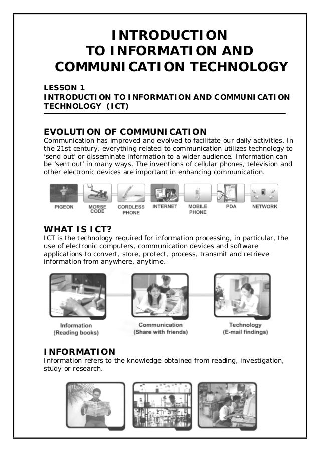 INTRODUCTION TO INFORMATION AND COMMUNICATION TECHNOLOGY LESSON 1 INTRODUCTION TO INFORMATION AND COMMUNICATION TECHNOLOGY...