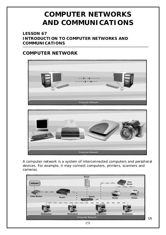 COMPUTER NETWORKS AND COMMUNICATIONS LESSON 67 INTRODUCTION TO COMPUTER NETWORKS AND COMMUNICATIONS  COMPUTER NETWORK  A c...