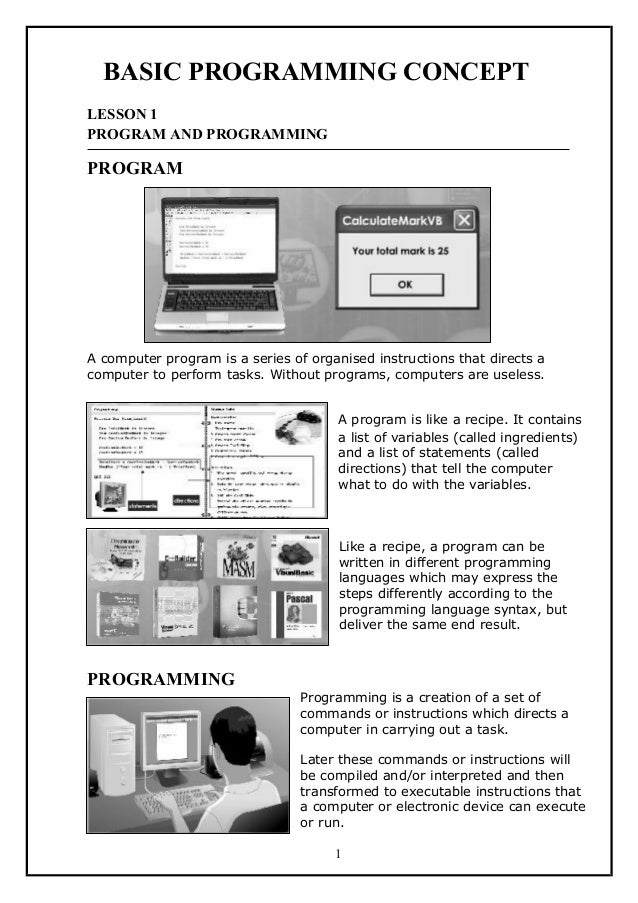 BASIC PROGRAMMING CONCEPTLESSON 1PROGRAM AND PROGRAMMINGPROGRAMA computer program is a series of organised instructions th...