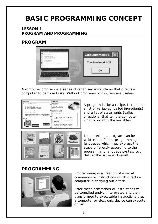 BASIC PROGRAMMING CONCEPT LESSON 1 PROGRAM AND PROGRAMMING  PROGRAM  A computer program is a series of organised instructi...