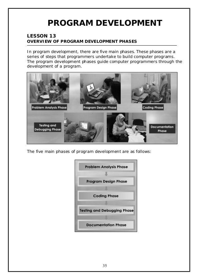 PROGRAM DEVELOPMENT LESSON 13 OVERVIEW OF PROGRAM DEVELOPMENT PHASES In program development, there are five main phases. T...
