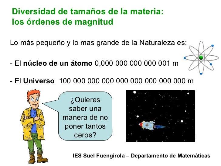 Diversidad de tamaños de la materia: los órdenes de magnitud Lo más pequeño y lo mas grande de la Naturaleza es: - El  núc...