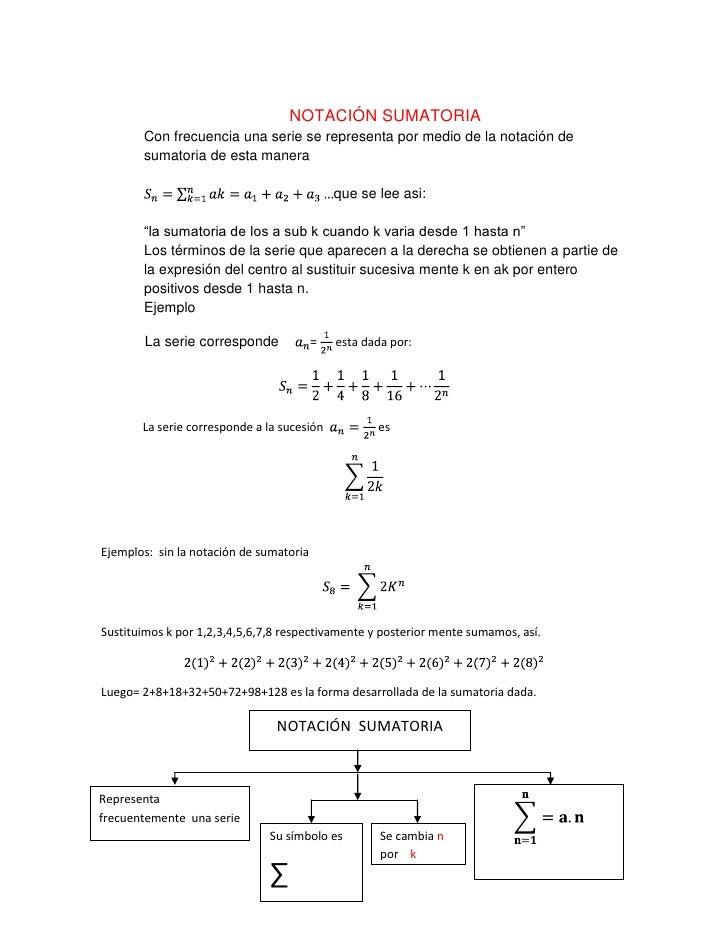NOTACIÓN SUMATORIA<br />Con frecuencia una serie se representa por medio de la notación de sumatoria de esta manera<br />S...