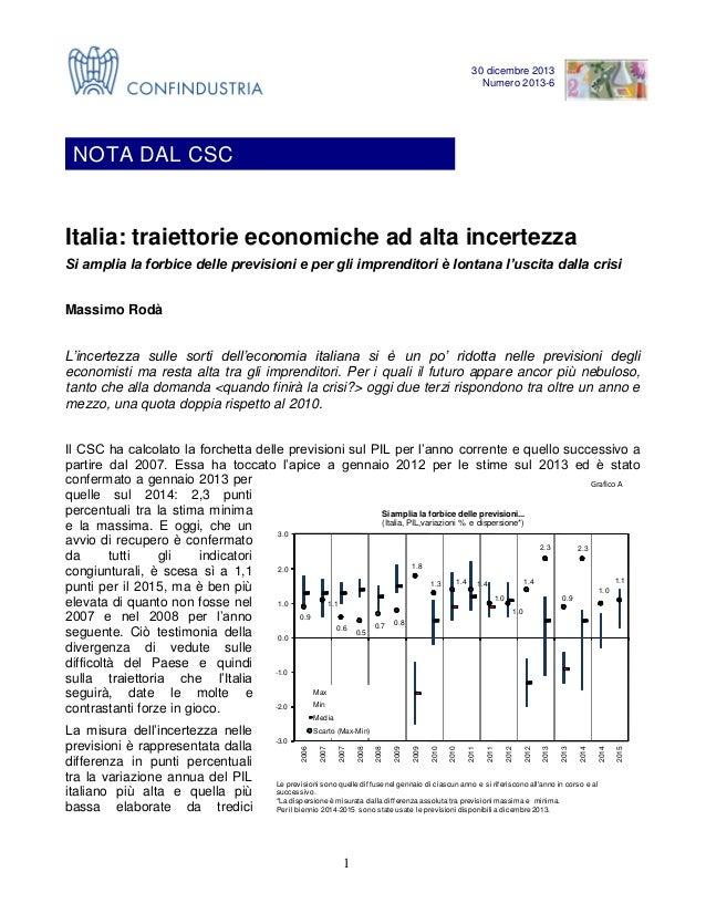 NOTA DAL CSC Numero 13-6 30 dicembre 2013 Numero 2013-6  NOTA DAL CSC  Italia: traiettorie economiche ad alta incertezza S...