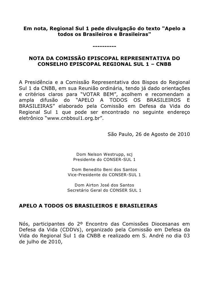 Nota da CNBB Sul-1 sobre como votar  nas eleições 2010
