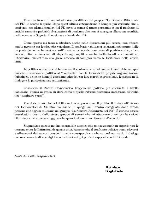 """Trovo grottesco il comunicato stampa diffuso dal gruppo """"La Sinistra Riformista nel PD‰ lo scorso 6 aprile. Dopo questÊult..."""