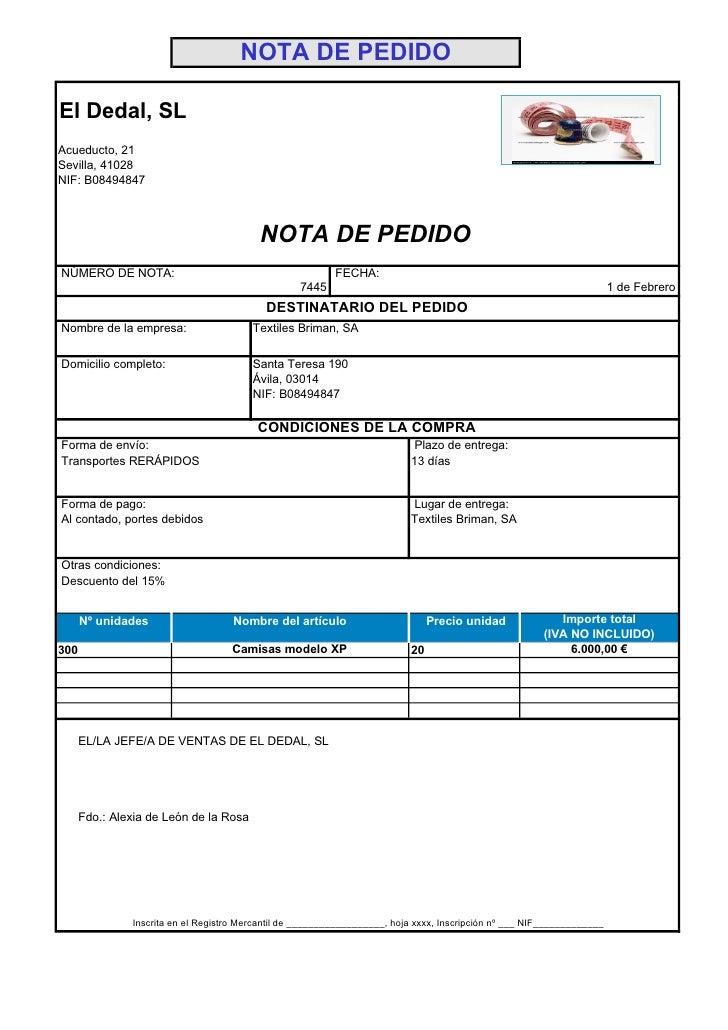 NOTA DE PEDIDO  El Dedal, SL Acueducto, 21 Sevilla, 41028 NIF: B08494847                                              NOTA...