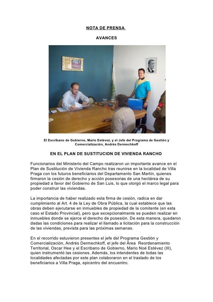 NOTA DE PRENSA                                        AVANCES            El Escribano de Gobierno, Mario Estévez, y el Jef...